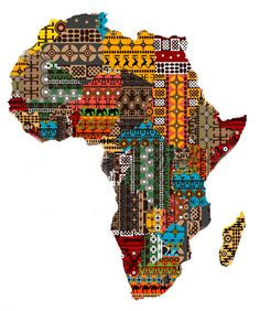 Map of the continent of Africa made from fabric native to various countries on the continent