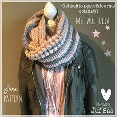Nieuwe kol/col, col shawl gehaakt in mooie pastelkleurigewol Julia van Zeeman. Ook patroon bij geschreven en film bij gemaakt. Vanochtend nog met stop mo