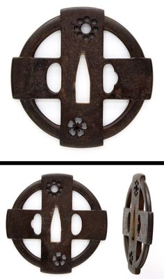 Roud iron Tsuba, cross shaped design. Cherry blossoms and Kuyo-Mon are engraved with open work.