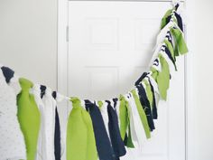 6' Navy, Green and White Rag Garland for Indoor or Outdoor use - Baby Shower, Nursery, Birthday, Home Decor