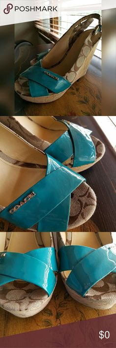 Teal Green Coach Platformed Slingbacks These gorgeous babies are stunning and I WISH I could wear them! I just have some feet problems so they aren't going to work for me. If there is any wear on these it's just on the bottom. Otherwise excellent condition! Coach Shoes Platforms
