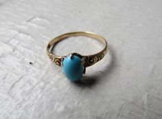 Antique Victorian 12k Gold Ring With Turquoise by LUXXORVintage, $318.00