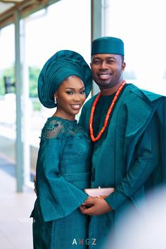 It was a Green Love Affair at Eyimofe & Oluwafunbi's Trad ? African Wedding Attire, African Attire, African Wear, African Dress, Nigerian Wedding Dresses Traditional, Traditional Wedding Attire, Traditional Outfits, Traditional Weddings, Couples African Outfits