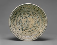Dish with Recumbent Elephant Surrounded by Clouds, Vietnam, 15th–16th century,  Stoneware with underglaze cobalt-blue decoration, The Metropolitan Museum of Art.