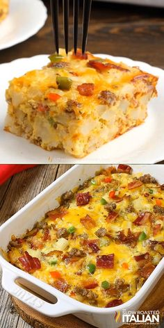 Fully Loaded Cheesy Breakfast Casserole is all of our favorite things in an easy breakfast recipe that you can make ahead. Packed with eggs, potatoes, veggies, sausage AND bacon it is truly a full bre Breakfast Casserole Easy, Breakfast Dishes, Breakfast Time, Make Ahead Breakfast Casseroles, Pioneer Woman Breakfast Casserole, Simple Breakfast Recipes, Office Breakfast Ideas, Egg Dishes For Brunch, Breakfast Ideas With Eggs