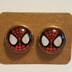 #1 Spiderman Earrings Stainless steel  Hypoallergenic plastic ear backs Jewelry Earrings