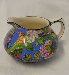 Vintage Crown Ducal CHINTZ Ware Very Small Milk or Cream Jug Exotic Bird