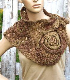 Crochet Scarf Capelet Woman winter fashion Neck Warmer by Crochet Cape, Freeform Crochet, Crochet Scarves, Crochet Clothes, Knit Crochet, Crochet Roses, Crochet Buttons, Unique Crochet, Cowl Scarf