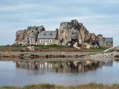 House between the rocks in La Cote de Granit Rose, near Plougrescant, Brittany, France