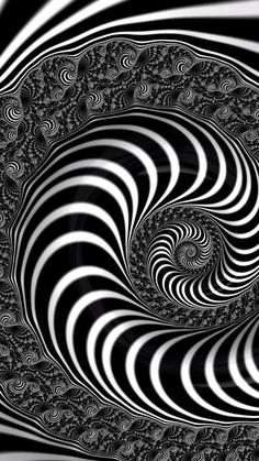 Fractal Op Art, black and white Spiral. Prints for sale (canvas, metal, acrylic), tap/click through and get inspired! Optical Illusions Pictures, Illusion Pictures, Optical Illusion Wallpaper, Trippy Wallpaper, Op Art Lessons, Gifs Lindos, Eye Illustration, Art Optical, Modern Art Paintings