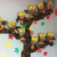 Owl Tree    Bringing some of the outdoors inside is part of what fall is all about. You can easily turn paper lunchbags, newspaper, construction paper, brown tissue paper, and thumbtacks into a family of owls nesting in a tree.  Photo: Pinterest