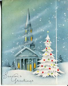 Vintage Christmas Card Church in The Snow with Tree Blue Tones   eBay