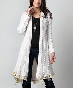 This Cream Cable Knit & Lace Ruffle-Hem Cardigan – Plus is perfect! #zulilyfinds