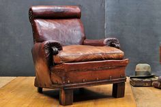 Civil War Era 19th Century Leather Club Chair Armchair | From a unique collection of antique and modern club chairs at https://www.1stdibs.com/furniture/seating/club-chairs/
