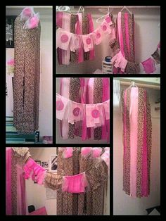 Cheap party decor! Oh the things u can do with streamers! Streamers banner garland & Brown u0026 Pink Cheetah Print Birthday Party Ideas | Pinterest ...