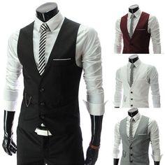 Men Casual Formal Slim Fit Business Waistcoat Dress Vest Jacket Tops Suit Tuxedo #Other #Vest