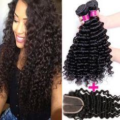 Deep Wave 3 Bundles and Closure Set  @ Hair-N-Paris located In Houston Texas website: hairNparis.com phone: 1-800-469-4322 email: Sales@hairNparis.com