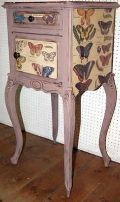 Butterfly decoupaged bedside cabinet