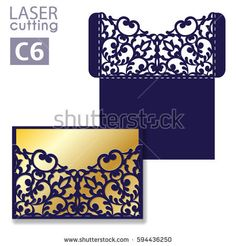 Laser cut wedding invitation card template vector. Wedding invitation or greeting envelope with abstract ornament. Open card. Suitable for greeting cards, invitations, menus.