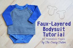 Sarah from The Crazy Tailor here with a fun little tutorial for you today! I love these faux- layered bodysuits – the look of a real shirt, butthe coverage of a bodysuit! In this tutorial I've combined the Lullaby Layette Bodysuit with the Grand Slam. Start by printing out your Grand Slam and Bodysuit patterns. Cut out the Grand Slam in your desired size, but