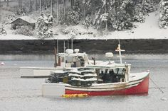 Lobster Boats After Snowstorm In Tenants Harbor Maine by Keith ...