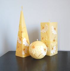 Hand Painted Candles Simply Camomile  handmade to by LessCandles