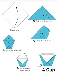 Origami, because sometimes you just need a paper cup.....Great to do with wax paper or aluminum foil.