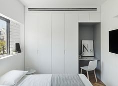 Interior designer Maayan Zusman recently released the remarkable design of a modern apartment of 85 sqm in Tel Aviv. She began her work on this project ✌Pufikhomes - source of home inspiration Urban Bedroom, Two Bedroom, Home Decor Bedroom, Bedroom Furniture, Bedrooms, Urban Apartment, White Apartment, Apartment Renovation, Nook Architects