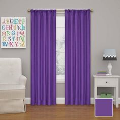 Eclipse Kendall 95 in. L Purple Rod Pocket Curtain