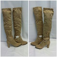 """Offers of 40% Less on BUNDLES Always Accepted! Taupe, very soft Velvet/Suede like man-made material,  3"""" matching covered Heel, Boots NWT in Box, size 7, 3 hole adjustable ankle wrap with gold tone buckle, belt loop back center above heel, 9"""" zipper with 1"""" gold tone zipper tab, 19 1/2"""" from heel to top of boot on calf, 7 1/2"""" wide calf laying flat or 15"""" circumference,  style name Corso. ADD TO A BUNDLE!  Offers of 40% Less on BUNDLES Always Accepted! Eve Mendes Shoes Heeled Boots"""