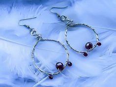 Sterling Silver Hoop Earrings  Swarovski Earrings by KingsfieldInn
