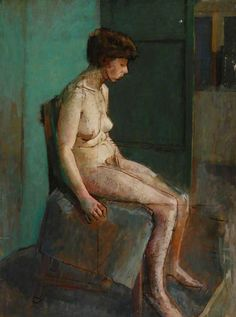 Female Nude Sat on a Chair by Ted Hall, Oil on canvas, 80.5 x 60 cm, Collection: Northumbria University Gallery