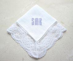 Delicate Lace Handkerchief, Monogrammed Handkerchief, Personalized Handkerchief, Bridal Handkerchief, Wedding Handkerchief