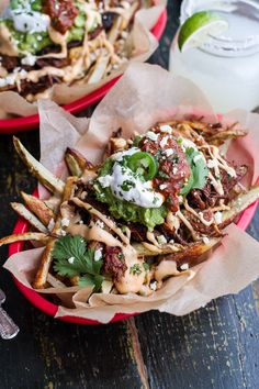 Image for Tijuana Street Fries (Honey Glazed Chipotle Carnitas, Fries + Toppings). I Love Food, Good Food, Yummy Food, Making French Fries, French Fries Recipe, Mexican Street Food, Food Porn, Half Baked Harvest, Quesadillas