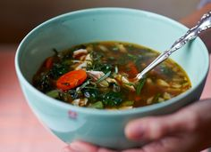 A restorative soup which makes full use of the carcass and remaining cold cuts from a roast dinner.