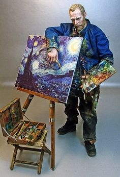 Vincent Van Gogh, Serang 1/6 scale figure... Amazing custom work Arte Van Gogh, Van Gogh Art, Vincent Van Gogh, Crazy Toys, Custom Action Figures, Doll Repaint, Collage, Les Oeuvres, Art Dolls