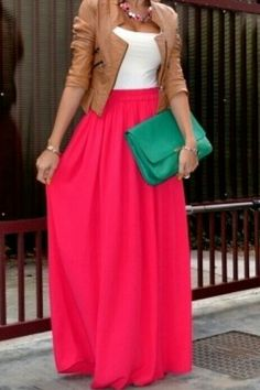 Maxi skirt. Love the pop of color with this look..casual yet chic