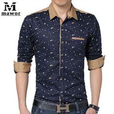 Barato Plus Size 5XL dos homens camisas casuais impressão camisa de mangas compridas Slim Fit camisas sociais roupas masculinas MC150, Compro Qualidade Camisas Casuais diretamente de fornecedores da China:              Free Shipping 2015 New Men's T Shir