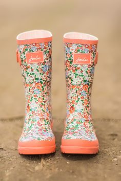 Singing in the Rain Joules Floral Kids Rain Boots