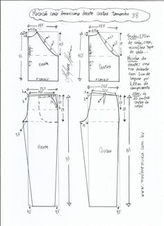 DIY - molde, corte e costura - Marlene Mukai Designer Blouse Patterns, Dress Sewing Patterns, Clothing Patterns, Jumpsuit Pattern, Pants Pattern, Sewing Pants, Pattern Drafting, Fashion Sewing, Dressmaking