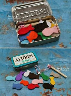 mommo design: IN A MINT TIN.magnetic fishing set Perfect for kids on the go Felt Crafts, Crafts To Make, Crafts For Kids, Easy Crafts, Operation Christmas Child, Projects For Kids, Diy For Kids, Sewing Projects, Sewing Ideas