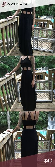 UO, pins and needles cut out maxi dress. Great maxi dress that stands out from the rest. It's not your average black maxi. It adds some interest with the buttons and the cut outs. Pins and Needles Dresses Maxi