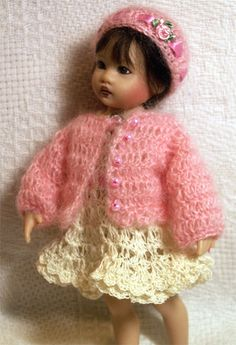 "Have one to sell? Sell it yourself  Pink Mohair Sweater Hat Dress Set for 6-7.5"" Riley or All Bisque Mignonette Doll"