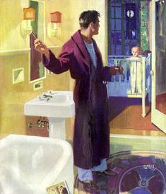 1925 Andrew Loomis ad for Standard Plumbing. Colored fixtures were still a few years in the future Vintage Advertisements, Vintage Ads, Retro Ads, Ink Illustrations, Illustration Art, American Illustration, Andrew Loomis, Art Deco Bathroom, Popular Artists