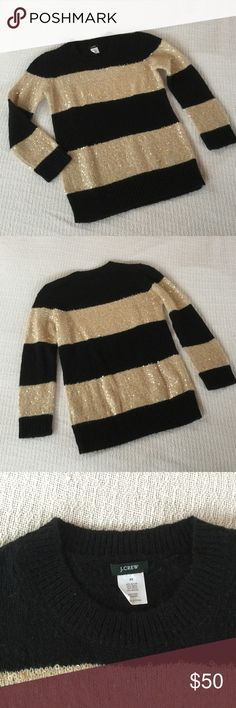 J.Crew Black & Tan Sequin Striped Crewneck Sweater This is a JCrew Wynter sweater in sequin stripes. This lovely mohair & wool bleand sweater has alternatlye stripes of black and gold cream ( pearly). The creamstripes are embellished with pearly sequins. This piece has the remove before wearing or washing tag still attached. Armpit to armpit is 16 in, length is 23 in (651) J. Crew Sweaters Crew & Scoop Necks