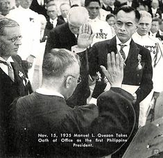 On Manuel L. Quezon takes oath of office as the first Philippine President. National Language, Philippines Culture, Filipino Culture, Filipina, Pinoy, The One, Number 8, Book Illustrations, History