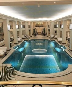Indoor Swimming Pool Ideas - You want to build a Indoor swimming pool? Here are some Indoor Swimming Pool designs and ideas for you. Luxury Swimming Pools, Luxury Pools, Dream Pools, Swimming Pool Designs, Amazing Swimming Pools, Luxury Cars, Mansion Interior, Mansion Homes, Indoor Swimming Pools