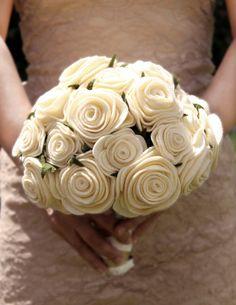 Felt Rose Wedding Package  Bouquet Boutonniere Head by FlowersBlum, $600.00
