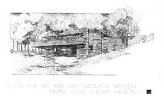 Design of Details: Frank Lloyd Wright's Affleck House | Sara Horn | Archinect Architecture Visualization, Architecture Drawings, Architecture Design, Frank Lloyd Wright Homes, Elevation Drawing, Usonian, Photoshop, Horns, Sketches