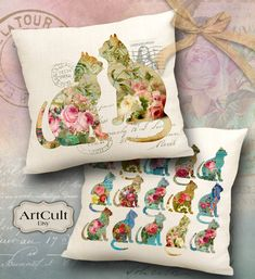 FLORAL GARDEN CATS - Two Digital Printable Download Images to print on fabric / paper, Iron On Transfer for tote bags pillows Home Decor